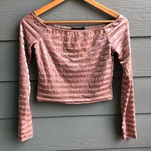 Forever 21 Long Sleeve Crop Top Velvet Pink Stripe
